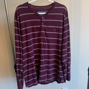 American Eagle Maroon Striped Long Sleeve Shirt